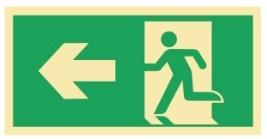 Sikkerhetsskilt | Nød ut pil venstre