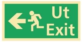 Sikkerhetsskilt | Ut exit venstre