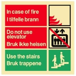 Sikkerhetsskilt | I tilfelle brann, bruk trappen