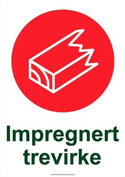 Avfallssortering skilt Impregnert material