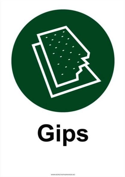 Avfallssortering skilt Gips