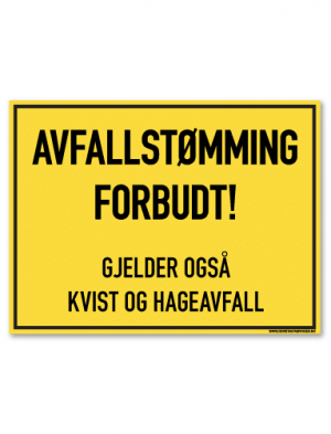 Avfallstømming forbudt