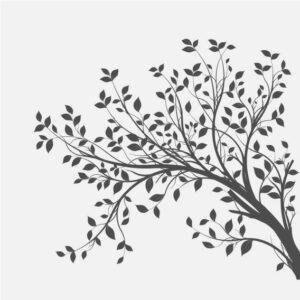 Illustrasjon av et tre med blader.
