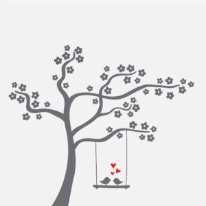 Vindusfolie Blomstertre. Kvadratisk illustrasjon av et tre.