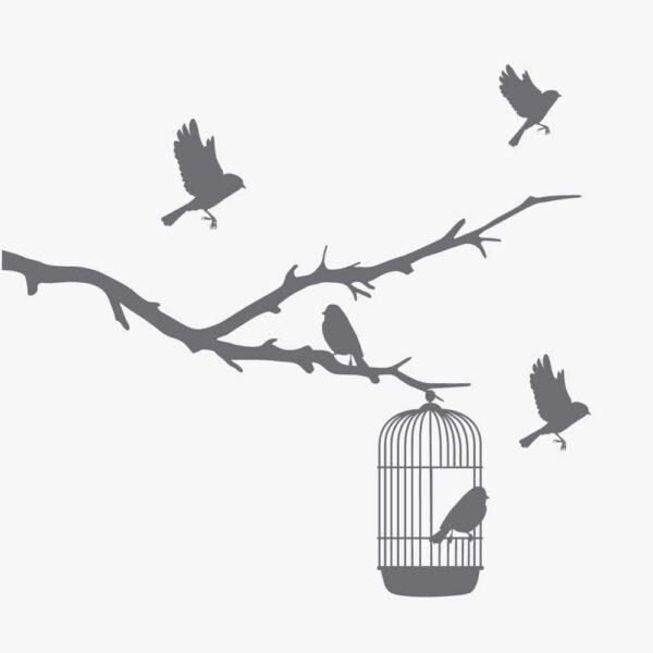 Grafisk bilde av en frostet vindusfoie. Motiver er av en fuglegren med små fugler på. I greina henger det et lite fuglebur hvor det sitter en fugl inni.
