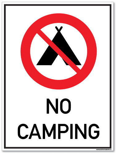 No camping telt
