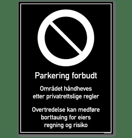 parkering forbudt skilt rektangulært privatrettslig