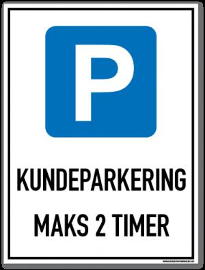 Parkeringsskilt som med symbol og tekst forteller at det er parkering for kunder i maks to timer