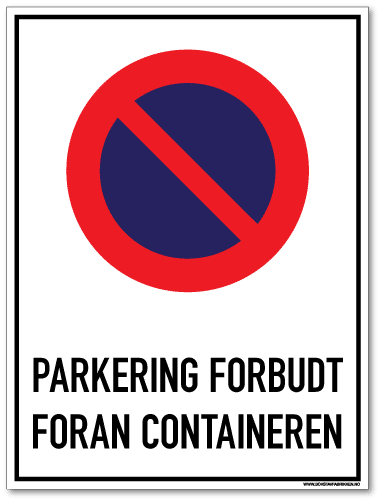 Parkering forbudt Foran container