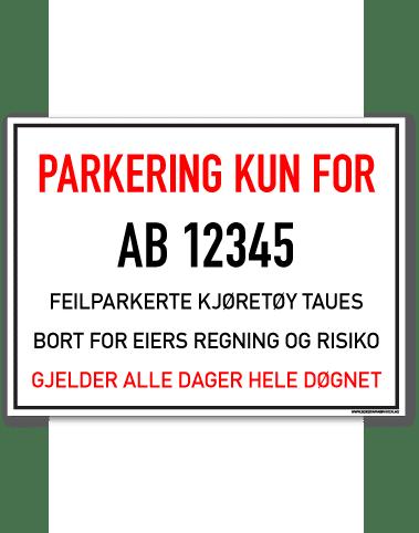 Parkering forbudt Kun for