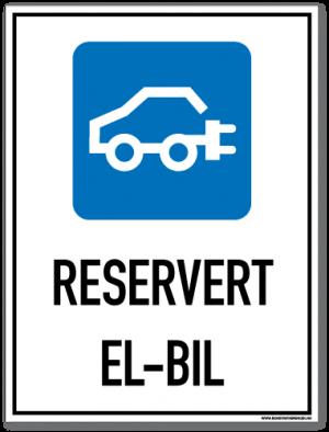 Parkeringsskilt som med symbol og tekst forteller at det er parkering for el-bil