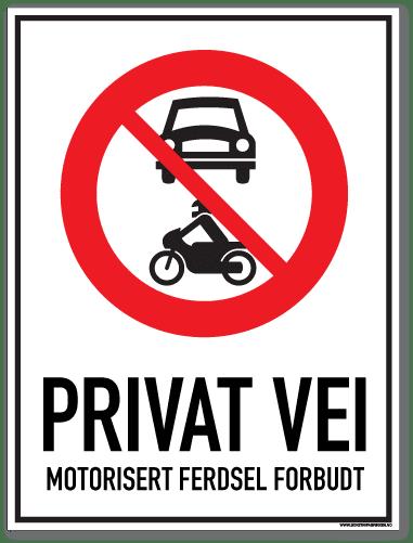 Privat vei motorisert ferdsel forbudt