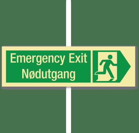 sikkerhetsskilt emergency exit høyre
