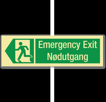 sikkerhetsskilt emergency exit venstre