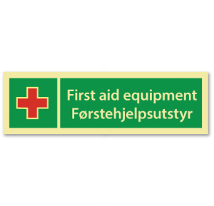 sikkerhetsskilt førstehjelpsutstyr enkelsk-norsk
