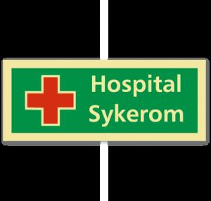 sikkerhetsskilt hospital/sykerom