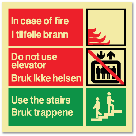 sikkerhetsskilt i tilfelle brann