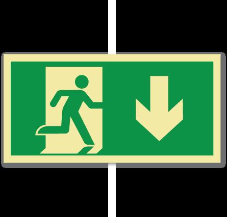 sikkerhetsskilt nødutgang ned