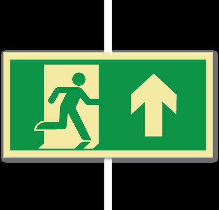 sikkerhetsskilt nødutgang opp