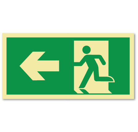 sikkerhetsskilt nødutgang venstre