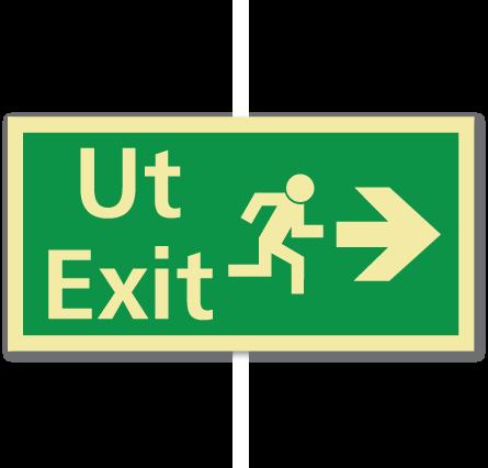 sikkerhetsskilt ut/exit høyre