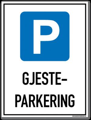 Gjesteparkering skilt med symbol og tekst som forteller at det er parkering for gjester