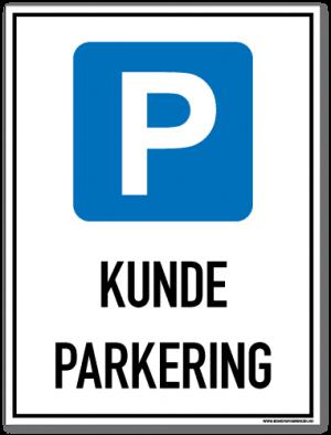 Kundeparkering skilt med parkeringssymbol og tekst som forteller at det er kundeparkeringsymbol