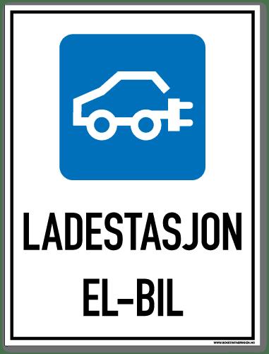 Ladestasjon El-bil skilt som med symbol og tekst forteller at det er ladestasjon for elbil