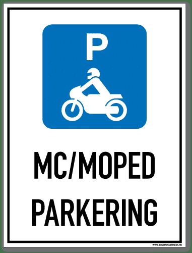 Parkeringsskilt som med symbol og tekst forteller at det er mc/mopedparkering