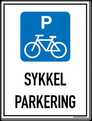 Sykkelparkering skilt som med symbol og tekst forteller at det er parkering for sykler