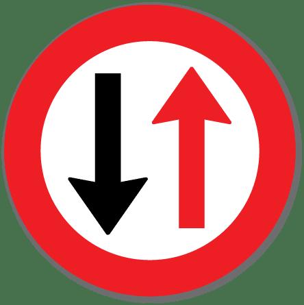 trafikkskilt vikeplikt overfor møtende 212
