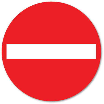 trafikkskilt innkjøring forbudt