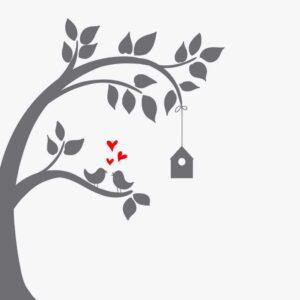 Illustrert kvadrat av vindusfolie. Motivet inneholder et tre med turtleduer og et fuglehus.