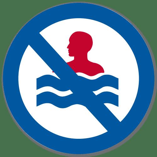 Vassdragsskilt 2-02 NVE Bading forbudt