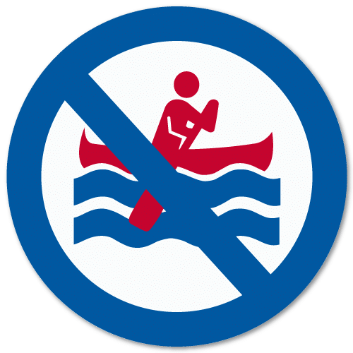 Vassdragsskilt 2-04 NVE Bruk av båt forbudt