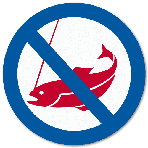 Vassdragsskilt 2-03 NVE Fiske forbudt
