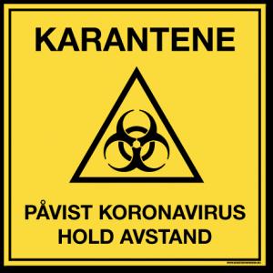 Smittevernskilt-Karantene