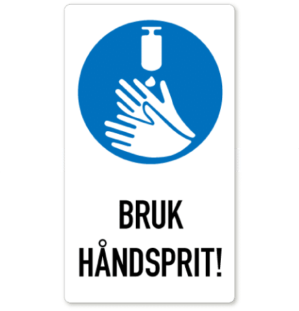 smittevern klistremerke bruk håndsprit