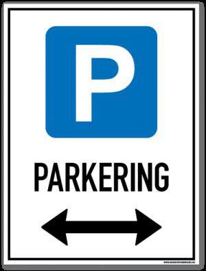 Parkeringsskilt som viser at det er lov å parkere på begge sider av skiltet