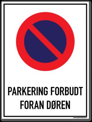 Parkering forbudt foran døren