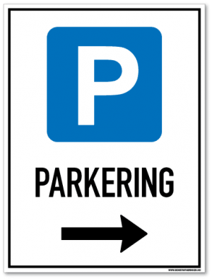 Parkeringsskilt som viser at det er tillatt å parkere til høyre for skiltet