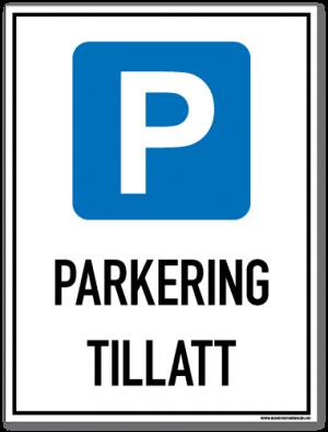 Parkering tillatt skilt som opplyser om at det er lov å parkere