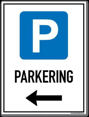 Parkeringsskilt som viser at det er lov å parkere til venstre for skiltet