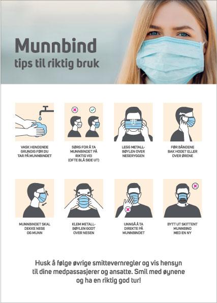 instruksjon for hvordan bruke ansiktsmaske korrekt