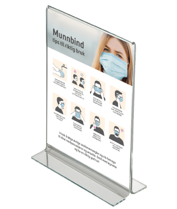 bordstativ med informasjon om rett bruk av ansiktsmaske
