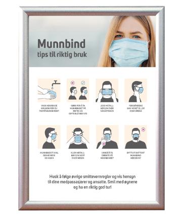 plakatramme med informasjon om hvordan man bruker ansiktsmaske korrekt