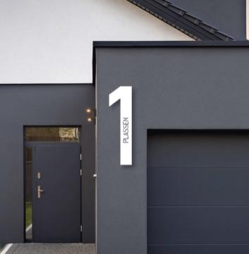 Husnummer med tekst   Hvit