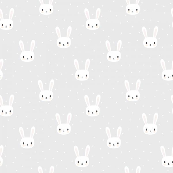 Grafisk bilde. Kvadrat med vindusfolie. Barnemotiv med små hvite kaniner på grå bakgrunn.