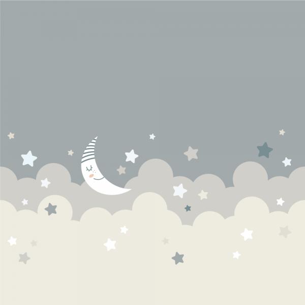 Kvadratisk utsnitt av vindusfolie. Motivet er ment for barnerom, med skyer, en måne og stjerner. Duse farger.