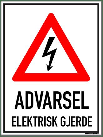 elektrisk gjerde skilt